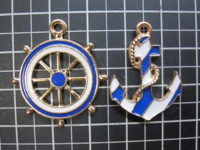 画像1: 舵と碇のチャーム