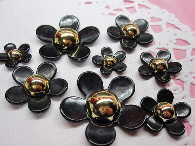 画像1: 黒の花4個セット (1)