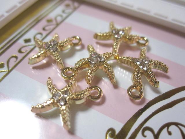 画像1: ストーン付starfishチャーム (1)
